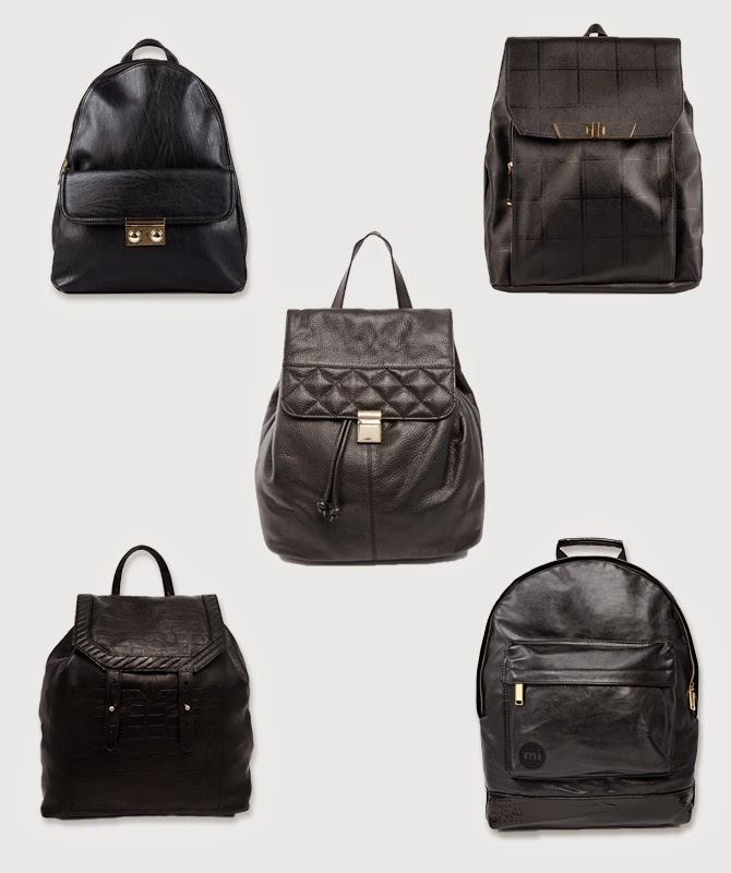 5x black leather backpack